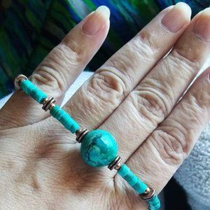 Teal Chrysacolla + Turquoise & Copper Bracelet